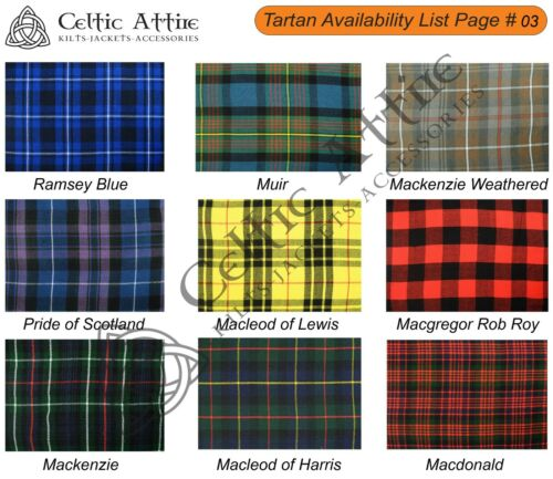 Clan Tartan Scottish 8 Yard TARTAN KILT Matching Kilt Sporran Available in 40