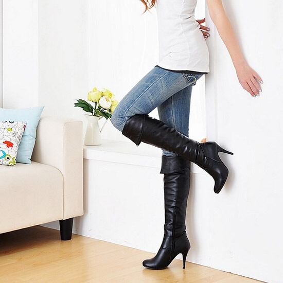 Women's Zip Spring Autumn High Heel Over Knee Long Boots Shoes UK 1.5--12 A52