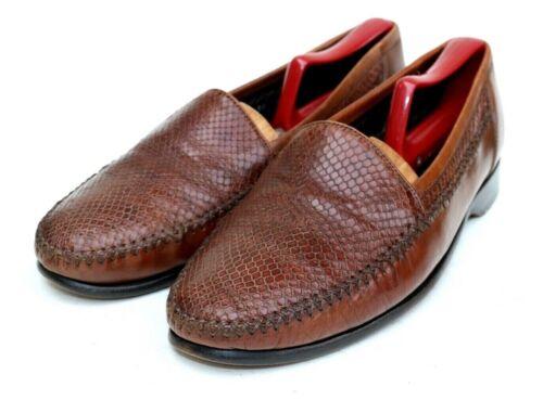 Bragano Italy Brown Leather Lizard Skin Slip On Lo