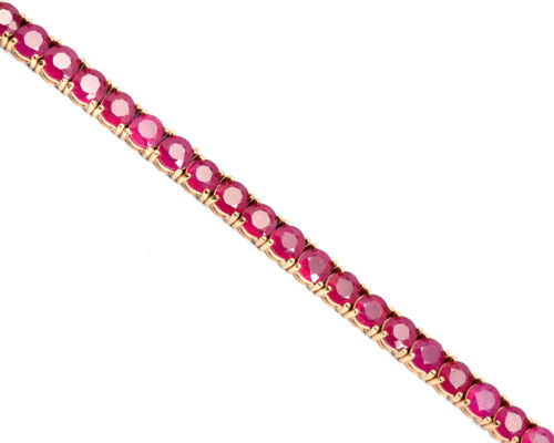 14k Rose Vergoldet Natürliche Rubin Edelstein 925 Sterlingsilber Armband Schmuck