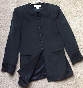 JONES-NEW-YORK-Women-s-100-SILK-Long-Trench-Coat-Blazer-Jacket-Size-8P