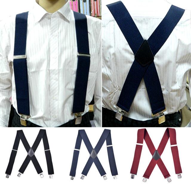 Adjustable Heavy Duty Metal Clips Braces Trouser Belt Suspender for Men #GO9