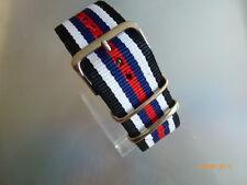 Uhrenarmband  Nylon schwarz weiß blau rot 24 mm NATO BAND Dornschließe Textil