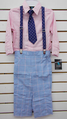 4T Toddler Boys Young Kings Purple /& Navy Suit w// Suspenders Size 2T