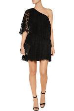 NWT $475 ALEXIS Maji One-Shoulder Lace Mini Dress in Black Sz.S