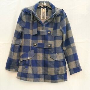 BEAUE-SOLE-BLUE-GREY-CHECK-DUFFLE-STYLE-COAT-WITH-HOOD-SIZE-14-REGULAR