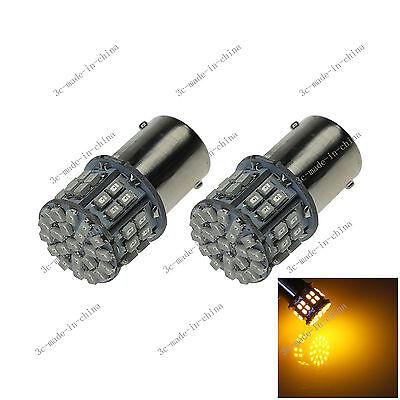 2x Yellow AUTO 1156 Marker Lamp Single Light 4 Emitters COB LED T25 7008 D083
