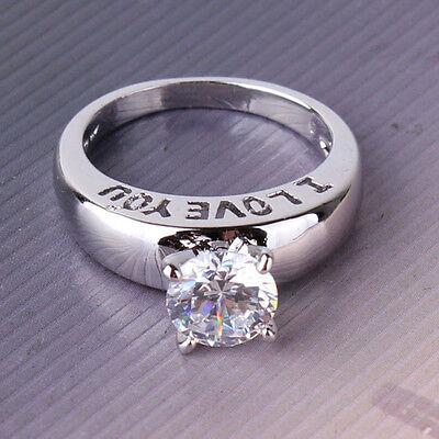 Fit swarovski crystal LADY wedding ring !  18k white gold filled ring SzJ-SzR