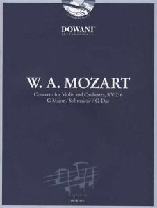 Dynamique Wolfgang Amadeus Mozart Concerto Pour Violon Kv 216 G Major Sheet Music Book/cd-afficher Le Titre D'origine