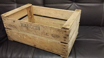 "VINTAGE WOODEN ""MANGUIN"" PEAR FRUIT CRATES RUSTIC OLD BUSHEL BOX SHABBY CHIC"