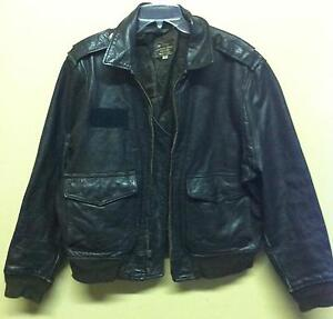 1950-039-s-USA-San-Diego-California-Vintage-A-2-Flight-Bomber-Jacket-Sz-44-Leather