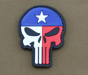 PVC-Rubber-Patch-034-Texas-Flag-Punisher-034-with-VELCRO-brand-hook
