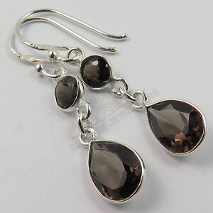 925-Solid-Sterling-Silver-Real-SMOKY-QUARTZ-Gemstones-Pretty-Earrings-1-1-2-Inch