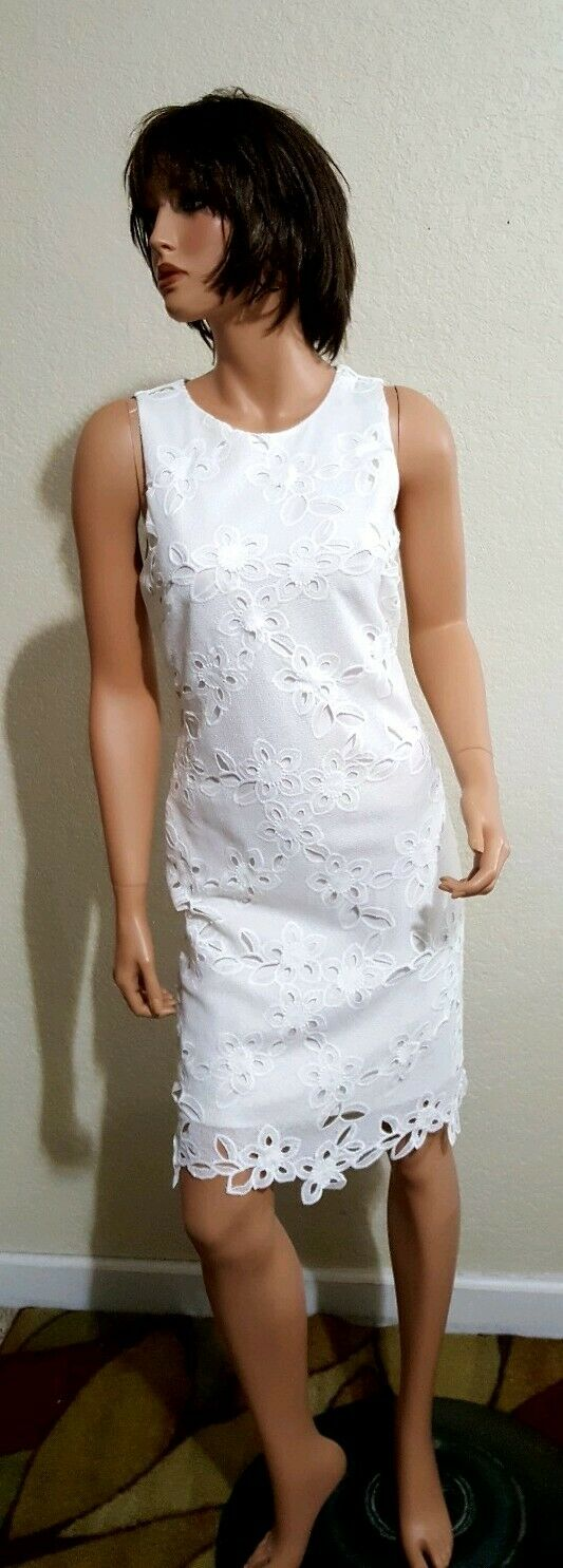 WOMENS KENZIE LACEY WHITE LINED SLIGHTLY FITTED DRESS  10