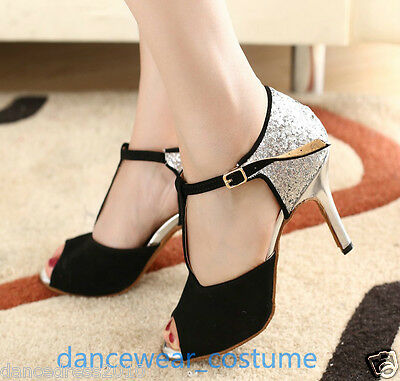 Ladies Prom Ballroom Latin Samba Salsa Dance Shoes Rumba Tango Heels Shoes US5-9