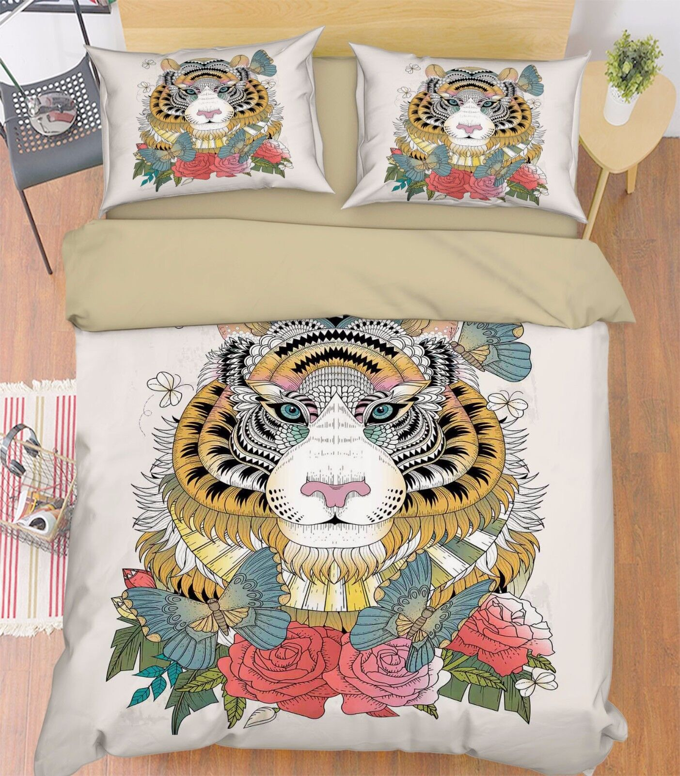 3D Tiger Petals 769 Bed Pillowcases Quilt Duvet Cover Set Single Queen UK Summer