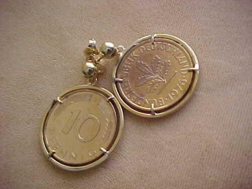 ALLEMAGNE 10 pfennig 1976//80 COIN 14 kGold Plaqué Vermeil Argent 925 cadre boucles d/'oreilles