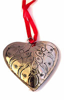 Polished Silver Tin-etched & Antiqued Heart Christmas Ornament By Culturas