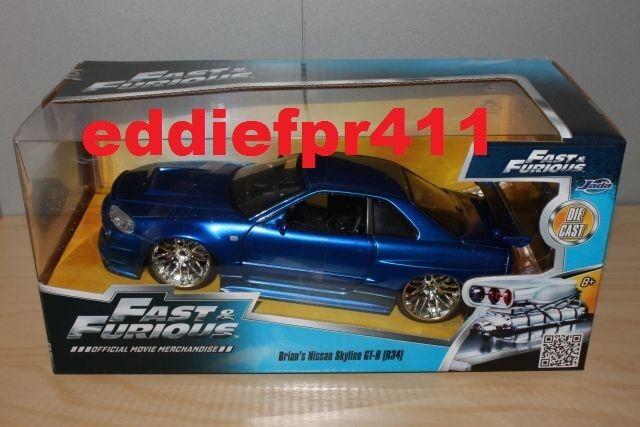 1 24 JADA FAST & FURIOUS NISSAN SKYLINE GTR R34 blueE BRIAN OCONNOR PAUL WALKER