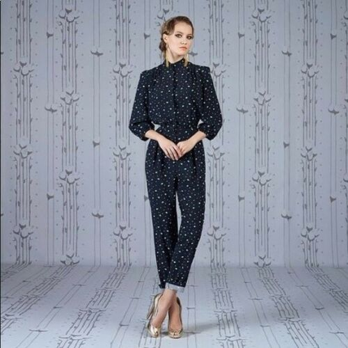 Ulyana Sergeenko Couture Navy Blue Floral Jumpsuit