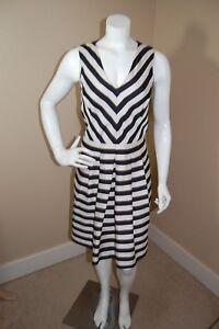 Banana Republic Lined Striped Sleeveless Black Cream Dress