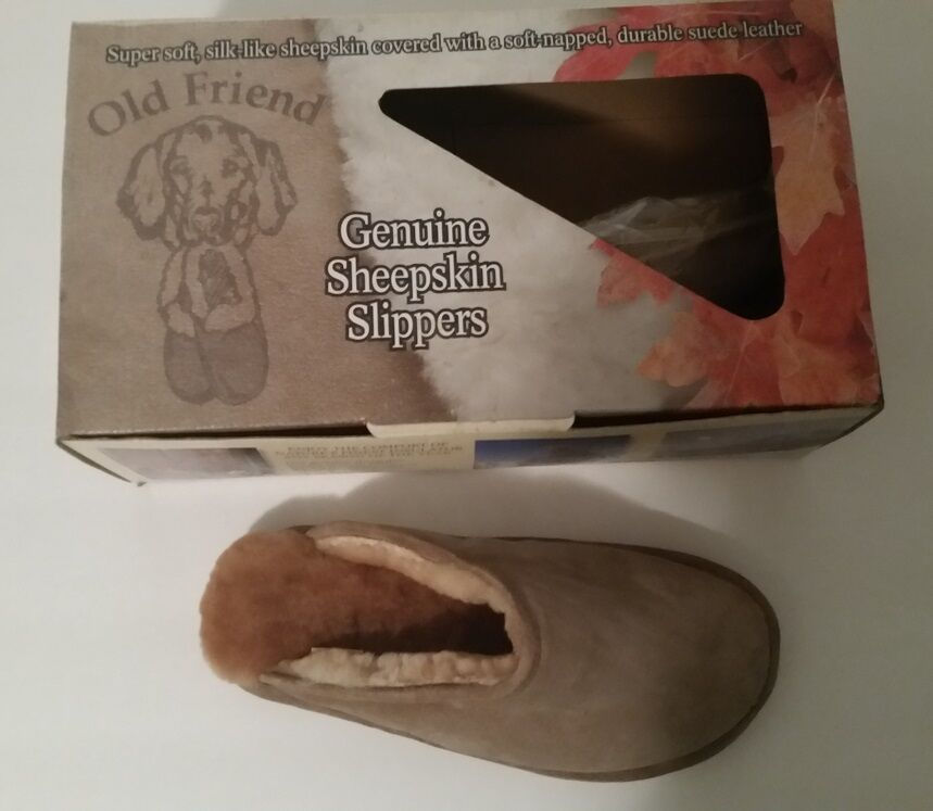 New Men's Old Friend Slipper Sheepskin SCUFF M (7.5-8.5) chestnut