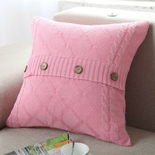 New Knitting Button Throw Pillow Cases Cafe Sofa Cushion Cover Home Room Decor