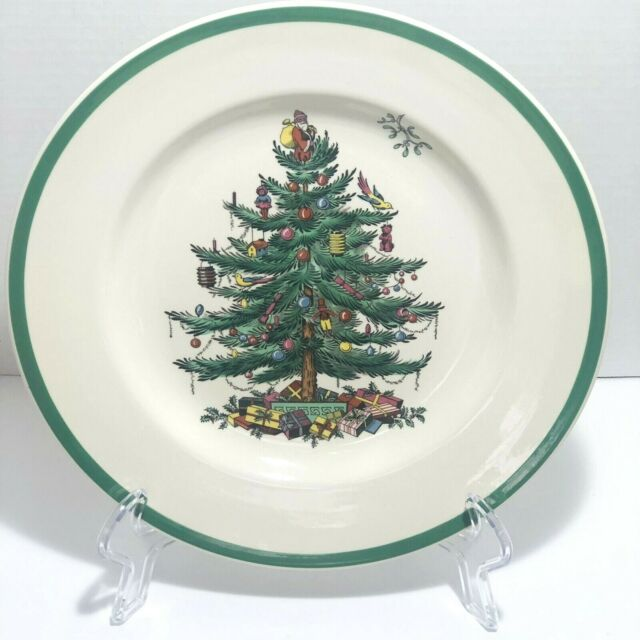 """SPODE Christmas Tree Set Of 4 10 1/2"""" Dinner Plates Made In England"""