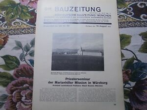 1929 Bauzeitung 32/marianhiller Mission Würzburg-afficher Le Titre D'origine