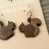 Squirrel Laser-cut Wood Earrings Green Tree Jewelry Cinnamon-brown Made-usa 1030
