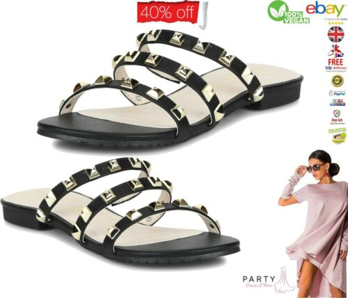 Para Mujeres Niñas Slip On tachonado Abierta Peep Toe Sandalias Deslizadores Negro Blanco Talla 5 6
