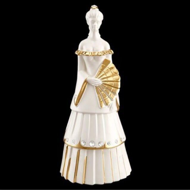 16x16x38cm cerámica porcelana dama Lady la Sra. baronesa princesa oro Swarovski
