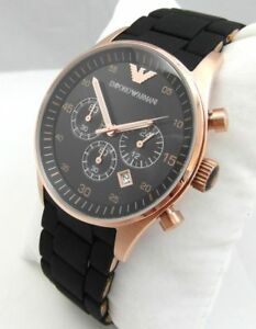 NEW-EMPORIO-ARMANI-AR5905-ROSE-BLACK-amp-GOLD-RUBBER-SILICONE-MENS-WATCH-UK