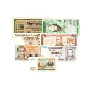 7-different-countries-paper-money-vf-Unc-special-purchase-catalog-value