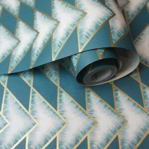90530 Holden Blaugrün Teton Geometrische Tapete Mit Metallisch Höhepunkte