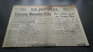 """"""" The Journal """" Edition Of 5 Heures Antique N°17316 Monday 18 Mars 1940 ABE"""