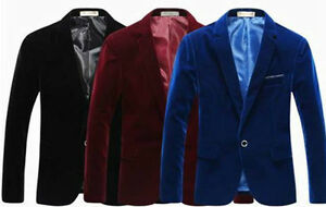 Mens-Velvet-Blazer-Jacket-Adults-Smart-Slim-Fit-Blazers-Coat-36-034-38-034-40-034-42-034-44-034