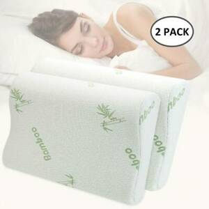 2-x-Anti-Bacterial-Bamboo-Memory-Pillow-Orthopedic-Firm-Head-Neck-Back-Support