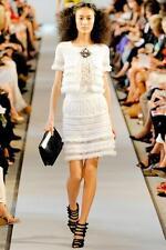 Oscar de la Renta White  Crochet Skirt  Sz:M Retail $1,890 NEW