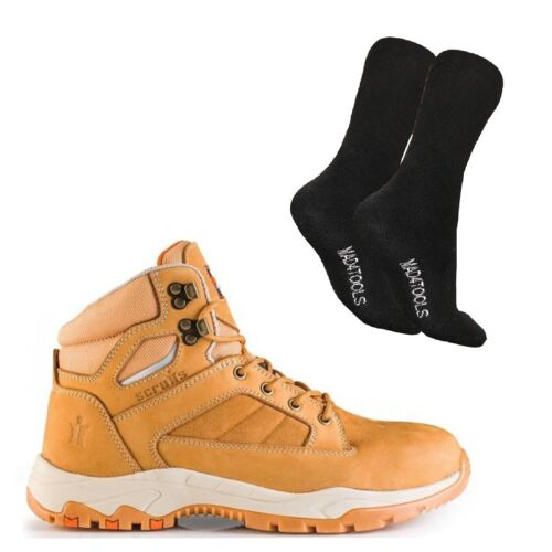 /& 1 Pair of Socks Sizes 7-12 Scruffs OXIDE Safety Work Boots Men/'s Tan