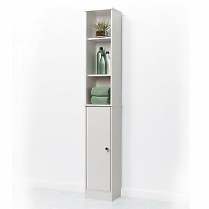 Image Is Loading Narrow Linen Tower 5 Shelf Cabinet Bathroom Adjule