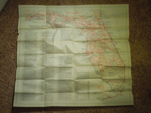 1933 Historical Map of FloridaHistorical Data, Important Events, CitiesVintage