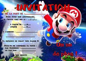 5 Ou 12 Cartes Invitation Anniversaire Mario Ref 295 Ebay