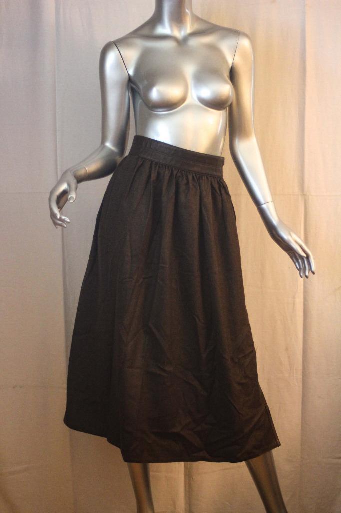Vintage ESCADA Long Dark Brown Wool Cashmere & Leather Skirt Size 42   S