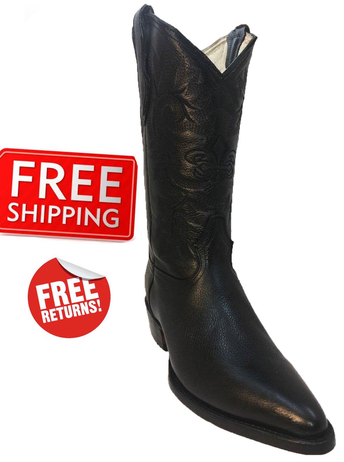 Para Hombre botas De Vaquero Negro 100% cuero genuino Western J del dedo del pie bota vaquera