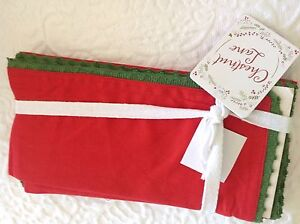 CHESTNUT LANE NAPKINS CHRISTMAS RED WITH GREEN TRIM 20 X 20 (2) 100% COTTON NWT