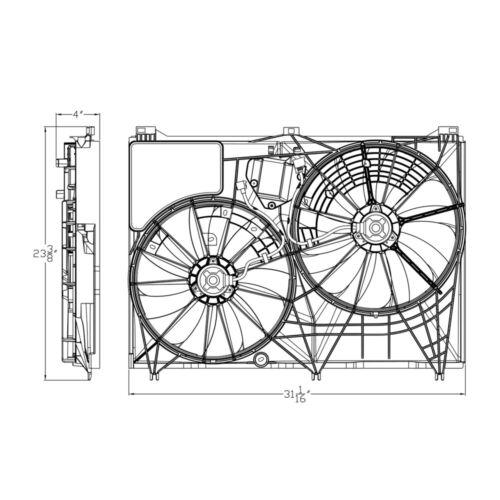 Radiator Fan Assembly For 2014-2018 Toyota Highlander 2015 2016 2017 TYC 623380