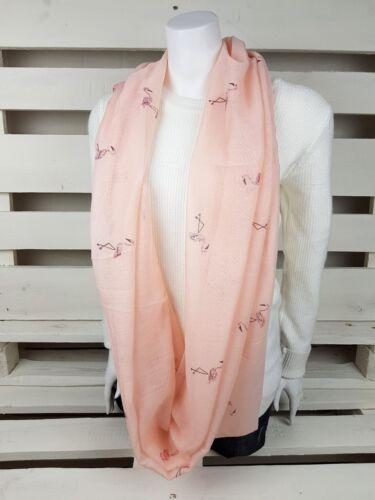 Loop Schal Tuch Damen mit buntem Metallic Glitzer Print Federn Sterne Flamingo
