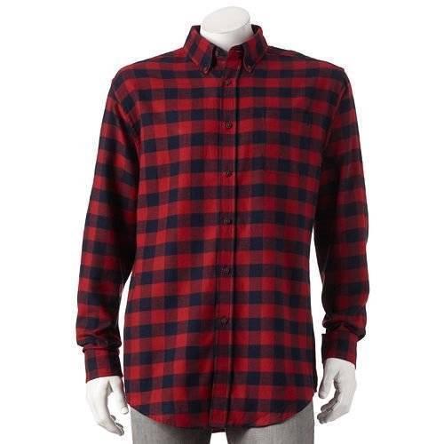 Croft /& Barrow Mens Signature Flannel Buffalo Plaid Shirt-Szs L XL 2XL-$36-NWT