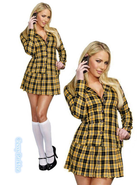 Ladies Sexy School Girl Clueless Cher 1990s Film TV Fancy Dress Costume  Outfit